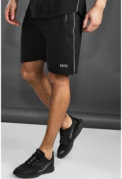 Mens Black Active Gym Mid Length Shorts