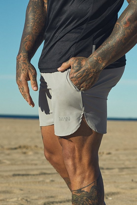 Grey Active Gym Runner Shorts With Reflective Piping