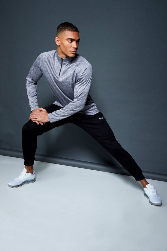 Grey Active 1/4 Zip Funnel Neck Gym Track Top