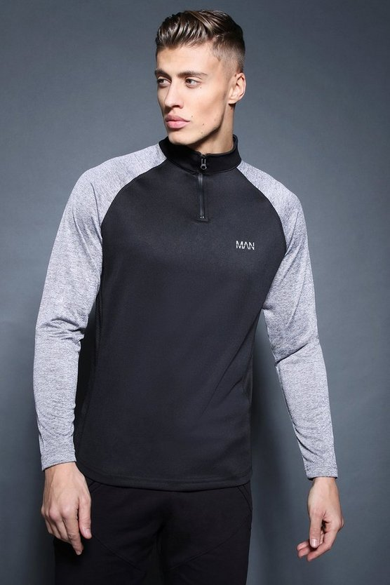 Black Active 1/4 Zip Funnel Neck Gym Track Top