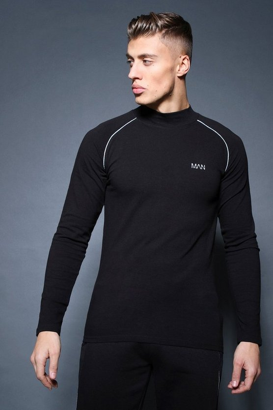 Black Active Long Sleeve Funnel Neck Raglan T-Shirt