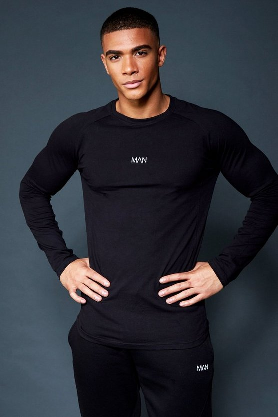 Black Active Raglan Long Sleeve Gym T-Shirt