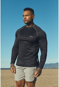 Mens Black Active Long Sleeve Raglan Step Hem Gym T-Shirt