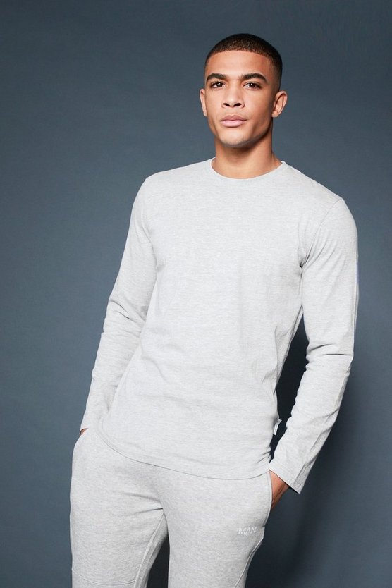 Grey Active Long Sleeve Curved Hem Gym T-Shirt
