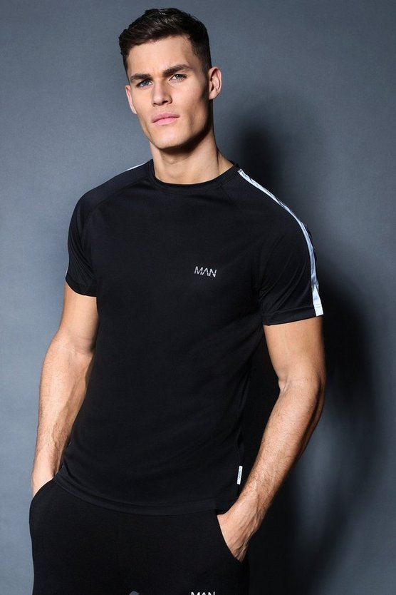 Black Active Gym Raglan T-Shirt With Back Print
