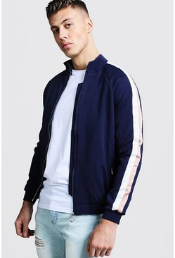 Mens Navy Raglan Bomber With Side Stripe
