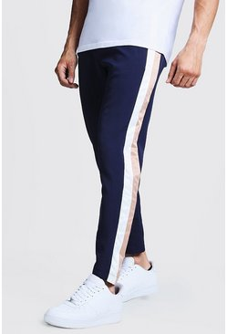 Mens Navy Trouser With Side Stripe