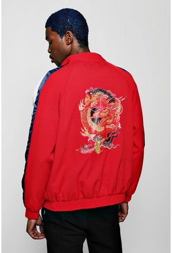 Mens Red Oriental Dragon Print Jacket With Side Stripe