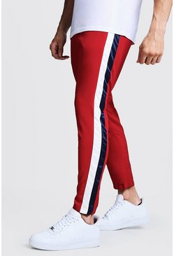 Mens Red Pants With Stripe Side