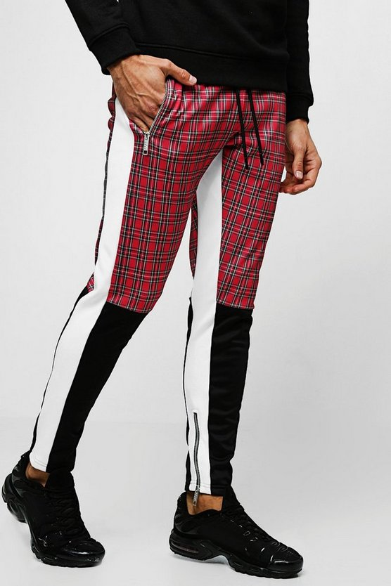 Red Tricot Tartan Half Colour Block Skinny Joggers