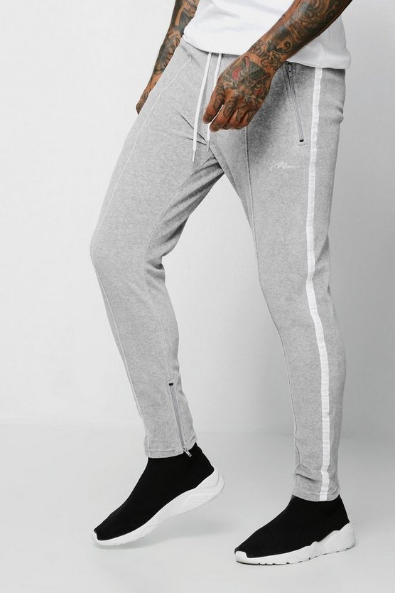 Mens Grey Velour MAN Signature Joggers With Side Tape