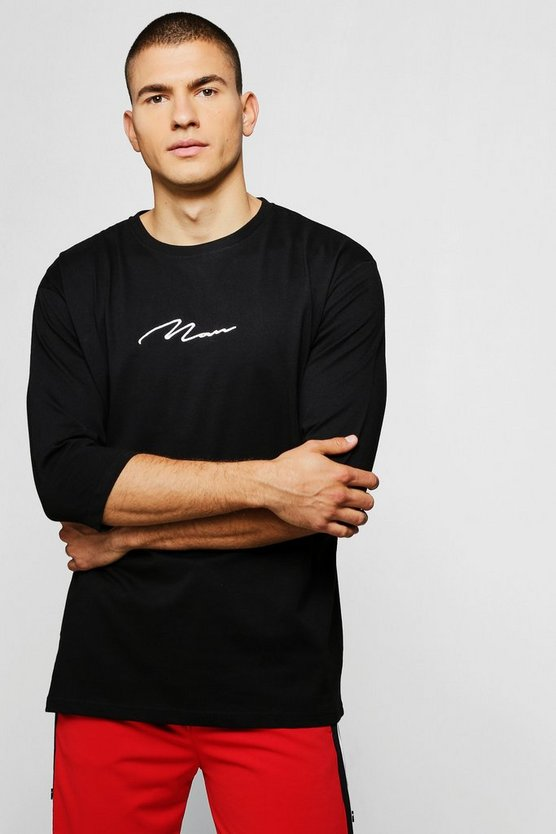 Black MAN Signature Loose Fit 3/4 Sleeve T-Shirt