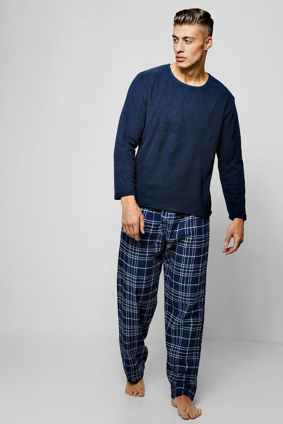 Navy Flannel Check Pants With Fleece Top Set