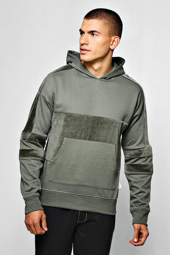Sage Over The Head Hoodie With Velour Panels