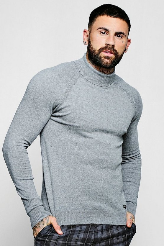 Mens Grey Muscle Fit Roll Neck Sweater