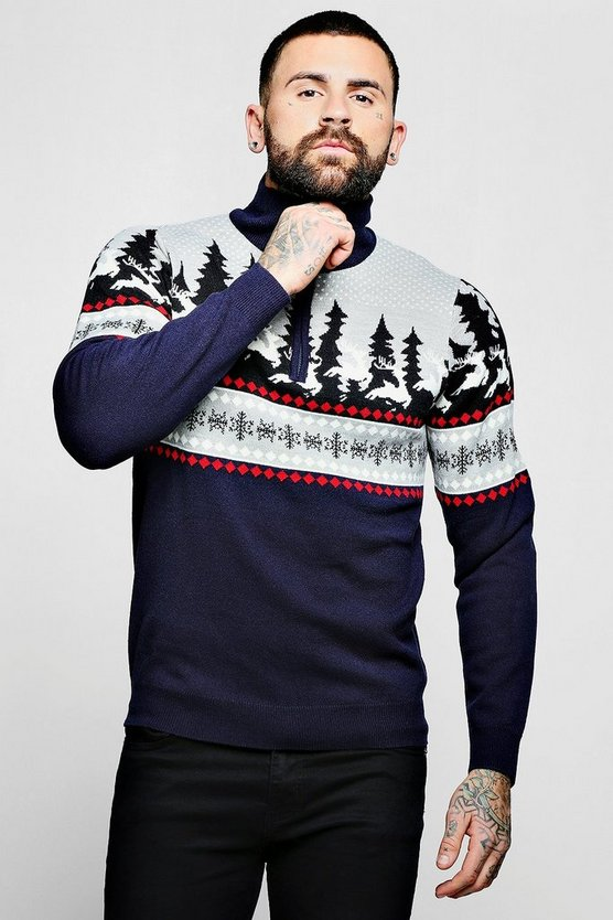 High Neck Zip Detail Christmas Jumper