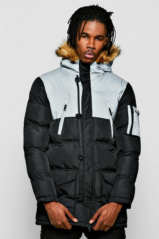 Reflective Panel Quilted Parka