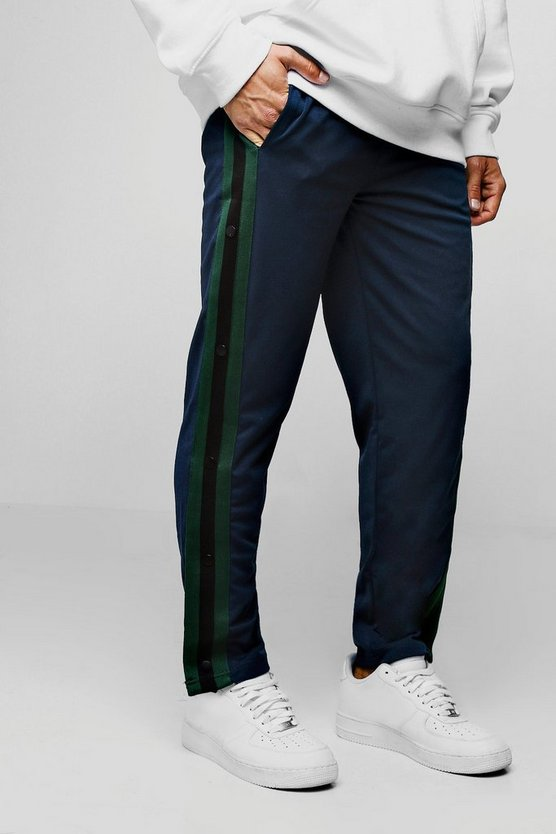 Navy Slim Fit Popper Tricot Joggers