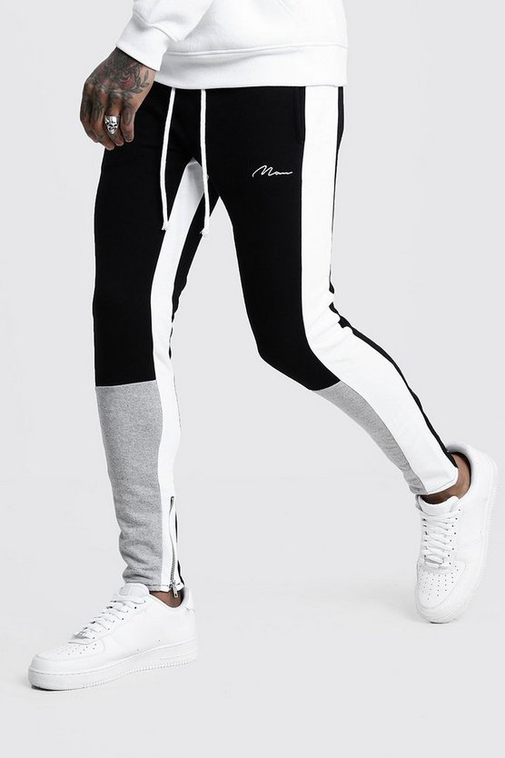 Mens Grey Skinny Fit MAN Colour Block Joggers