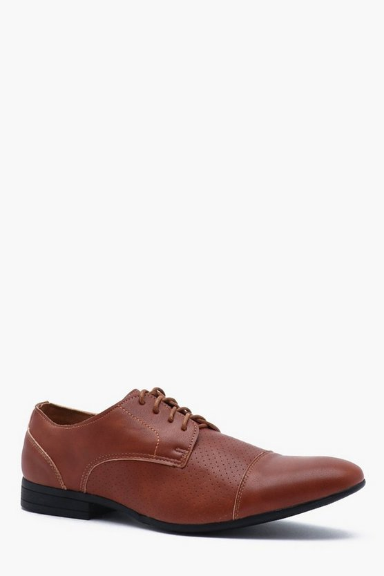 Tan Faux Leather Pinpunch Smart Shoe