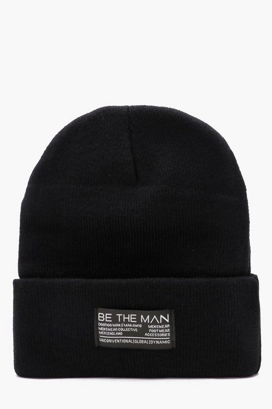 Black Large Woven Tab Beanie With Turn Up