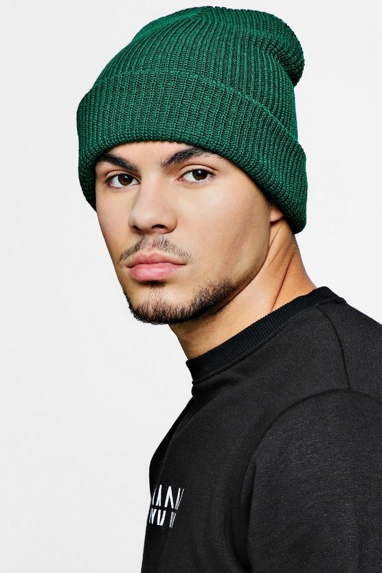 Green Rib Knit Beanie Hat