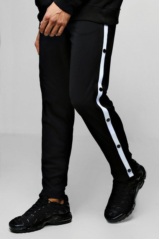 Black Slim Fit Popper Tricot Joggers