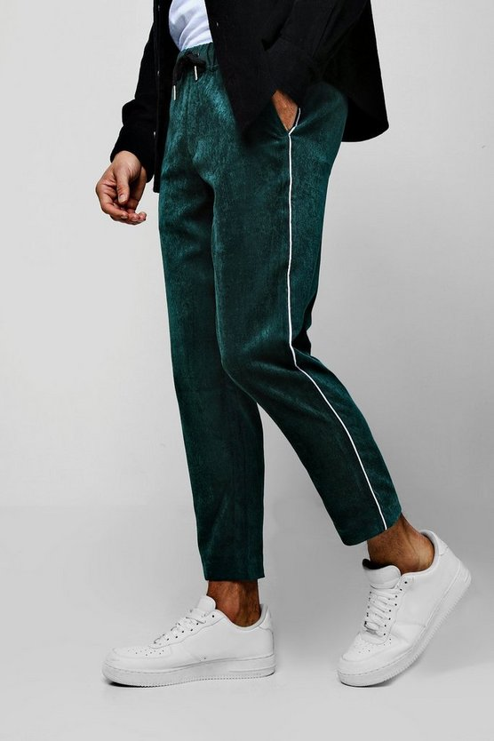Green Cord Jogger Pants With Side Piping