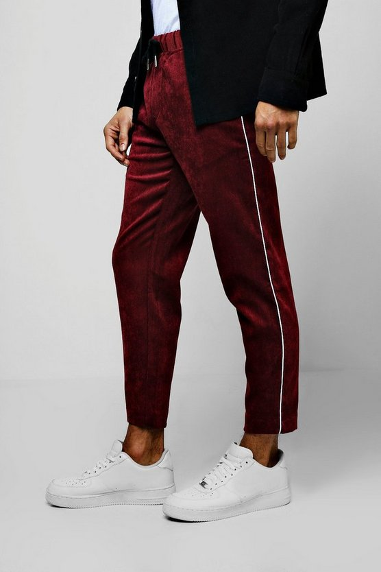 Burgundy Cord Jogger Style Pants With Side Piping