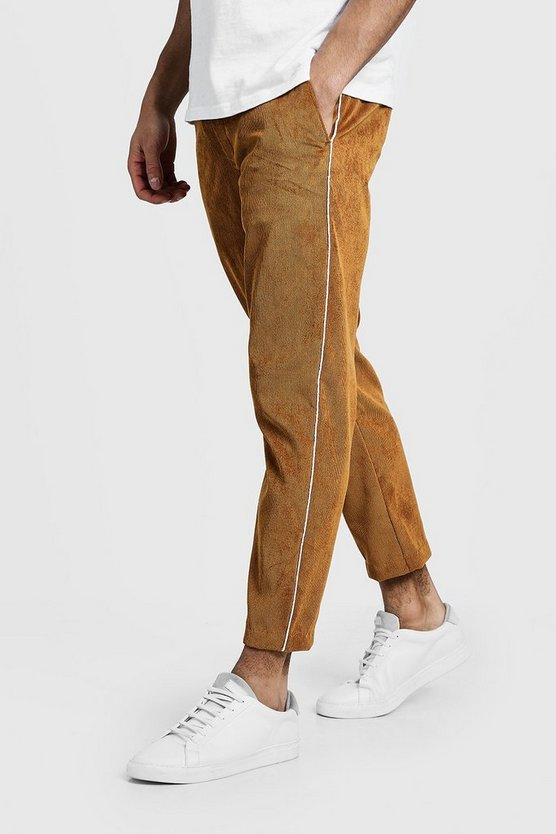 Camel Cord Jogger Style Pants With Side Piping