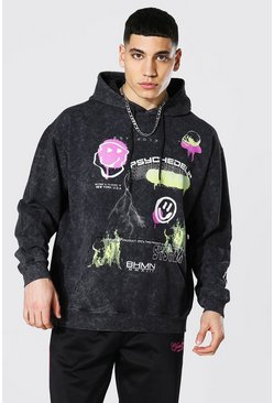 Oversized Graffiti Acid Wash Hoodie, Charcoal