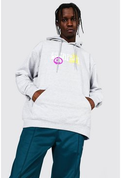 Grey marl Oversized Graffiti Spray Face Print Hoodie