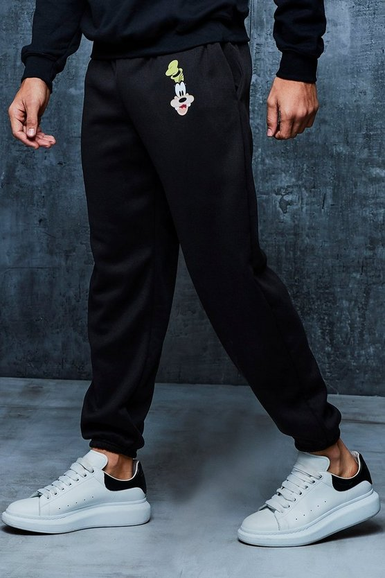 Black Disney Goofy Loose Fit Joggers
