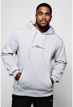 Grey Big and Tall MAN Script Hoodie