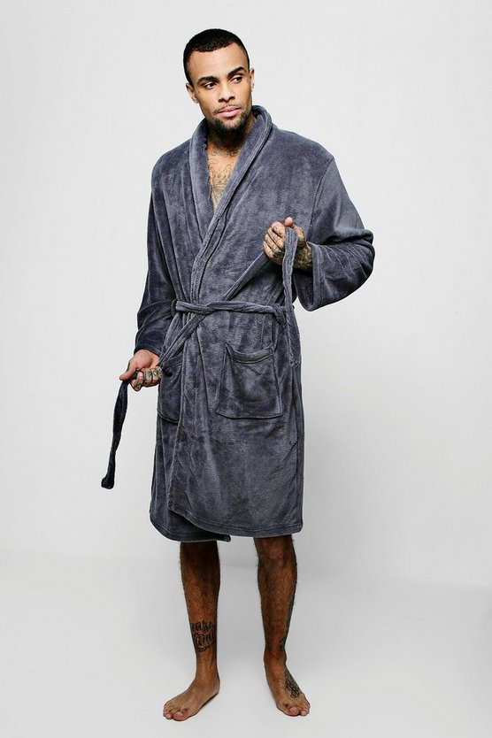 Charcoal Collared Fleece Robe With Pockets