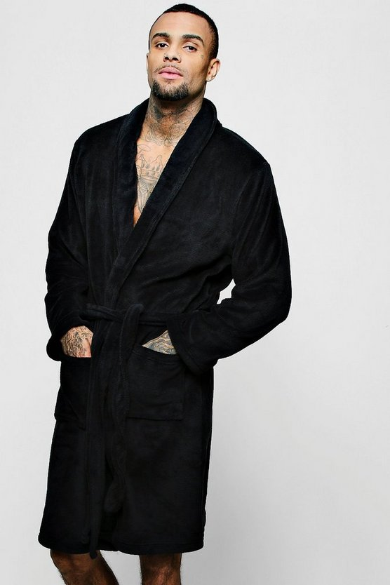 Black Collared Fleece Robe With Pockets