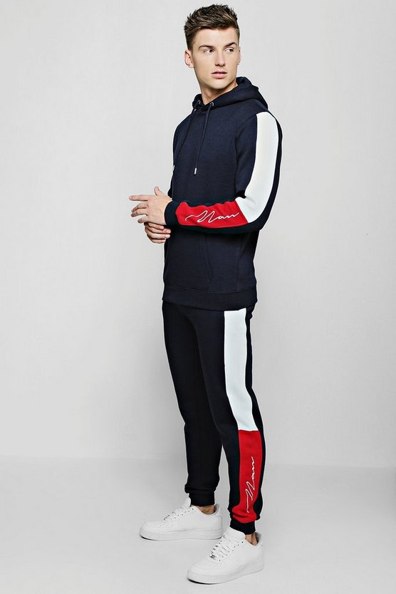 Navy MAN Signature Panel Colour Block Hooded Tracksuit