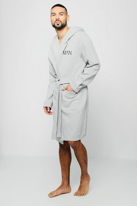 Grey Jersey Fleece Hooded Robe With MAN Embroidery