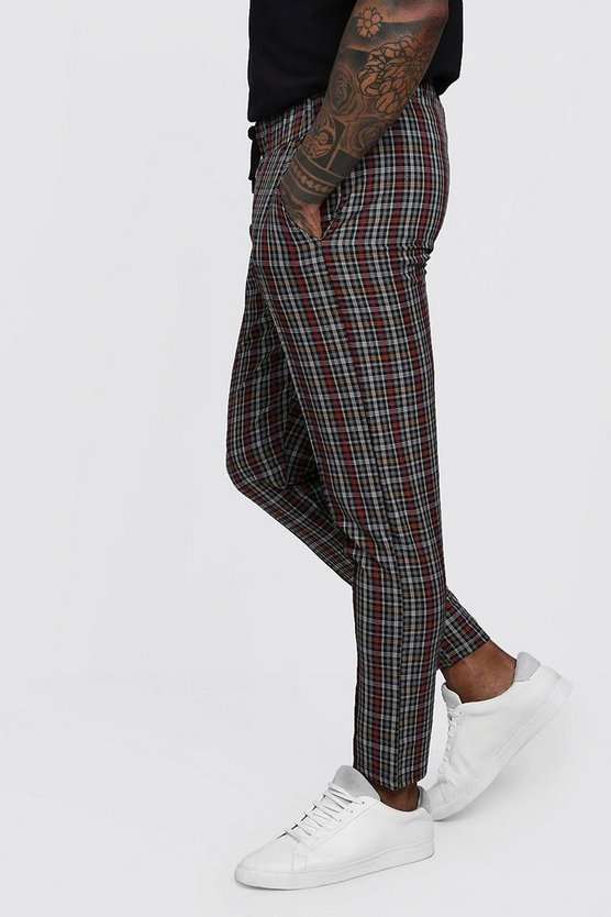 Red Check Smart Cropped Jogger Trouser