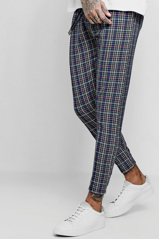 Blue Check Cropped Smart Jogger Trouser