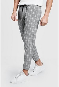 Mens Grey Checked Tape  Cropped Smart Jogger