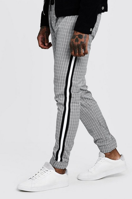 Black Mono Mini Check Sports Tape Smart Jogger