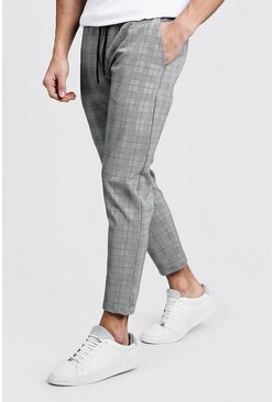Mens Green Prince Of Wales Check Smart Jogger