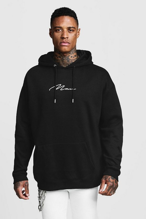 Mens Black Oversized MAN Signature Embroidered Hoodie