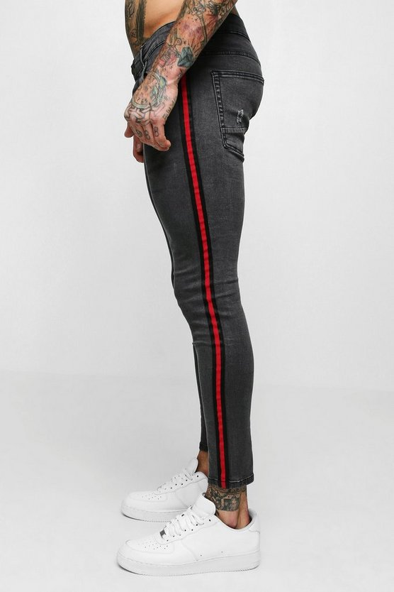 Mens Charcoal Super Skinny Jeans With Side Tape