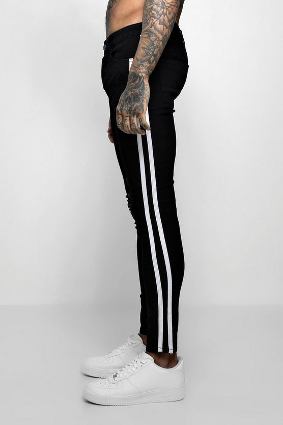 Black Super Skinny Distressed Jeans With Side Tape