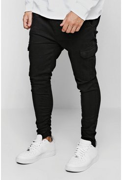 Black Tapered Fit Cargo Pants