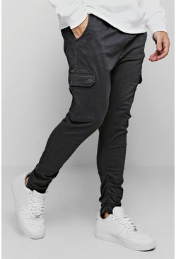 Grey Tapered Fit Cargo Pants