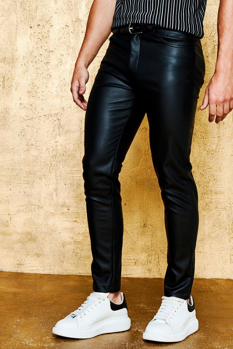 72fc9a59ce16 Skinny Fit PU Trouser - boohooMAN