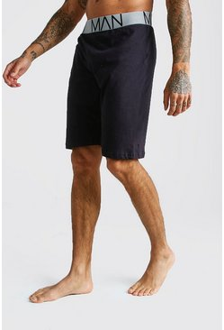 Mens Black MAN Jersey Lounge Shorts